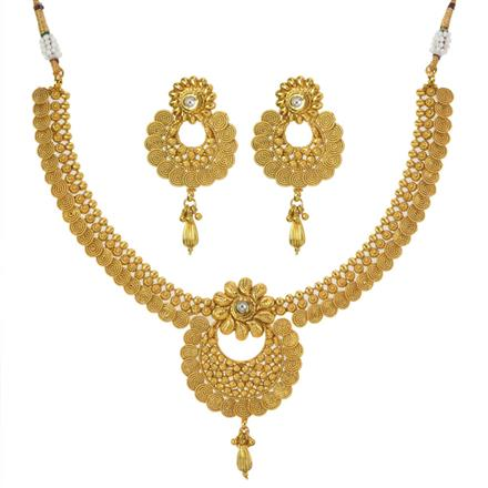 11195 Antique Plain Gold Necklace