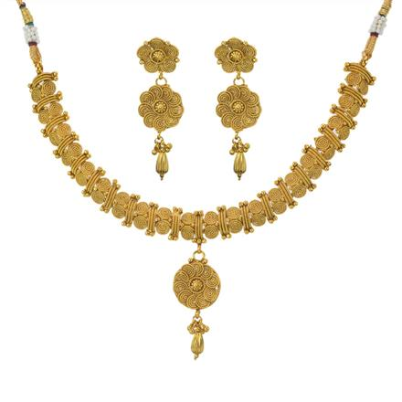 11201 Antique Plain Gold Necklace