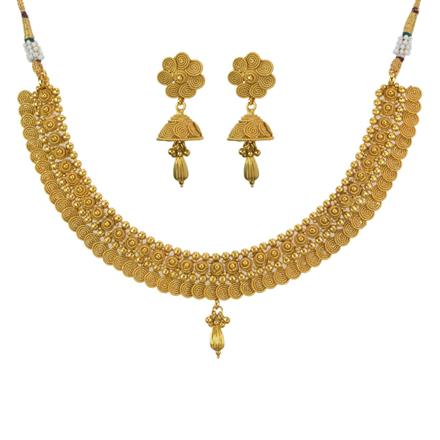 11202 Antique Plain Gold Necklace