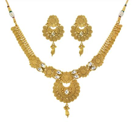 11206 Antique Plain Gold Necklace