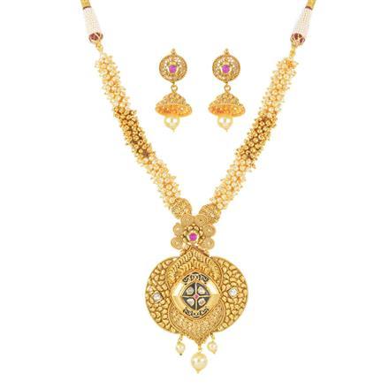 11212 Antique Mala Pendant Set with gold plating