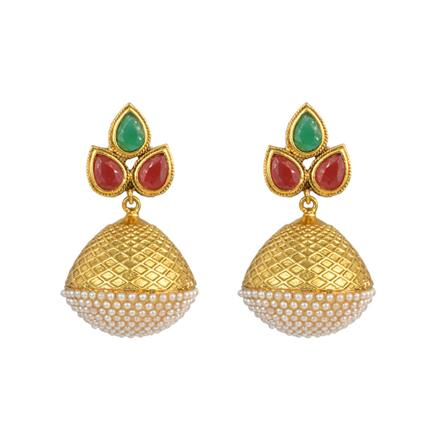 11229 Antique Jhumki with gold plating