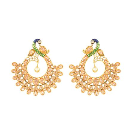 11230 Antique Peacock Earring with gold plating