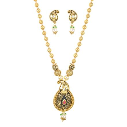 11238 Antique Mala Pendant Set with gold plating