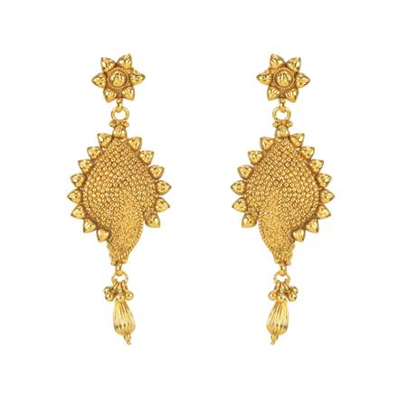 11281 Antique Plain Gold Earring