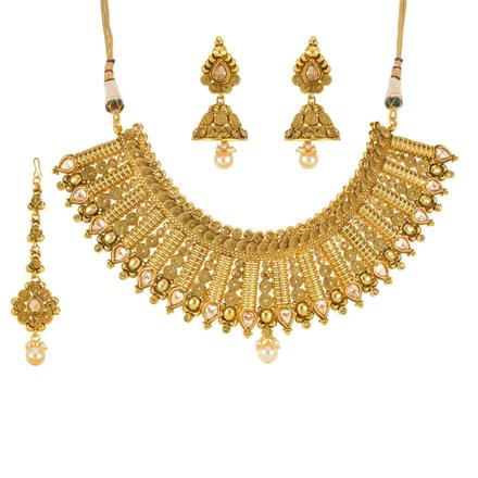 11340 Antique Mukut Necklace with gold plating