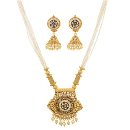 11391 Antique Mala Pendant Set with gold plating