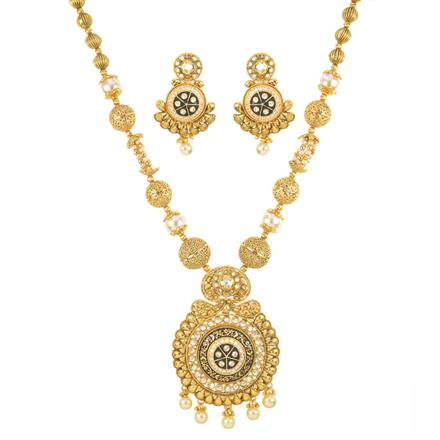 11392 Antique Mala Pendant Set with gold plating