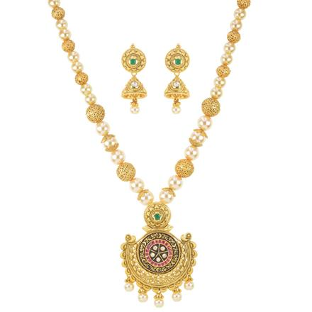 11393 Antique Mala Pendant Set with gold plating