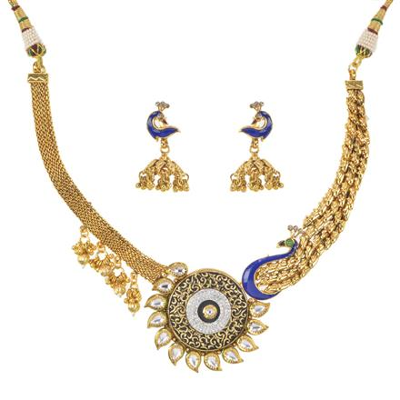 11398 Antique Peacock Necklace with gold plating