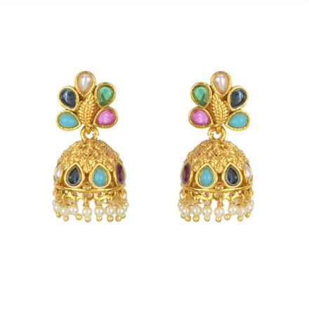 11435 Antique Jhumki with gold plating