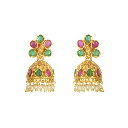 11436 Antique Jhumki with gold plating