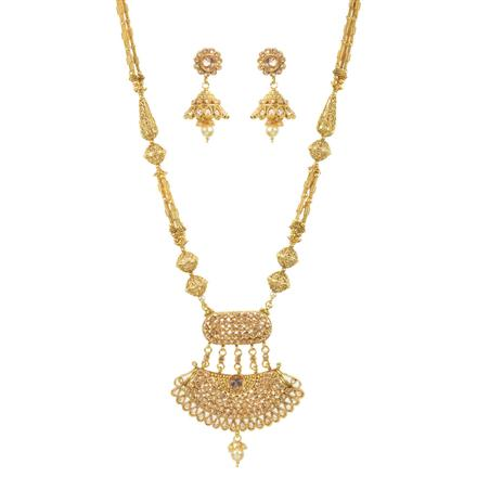 11437 Antique Mala Pendant Set with gold plating
