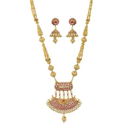 11438 Antique Mala Pendant Set with gold plating