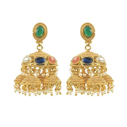 11444 Antique Jhumki with gold plating