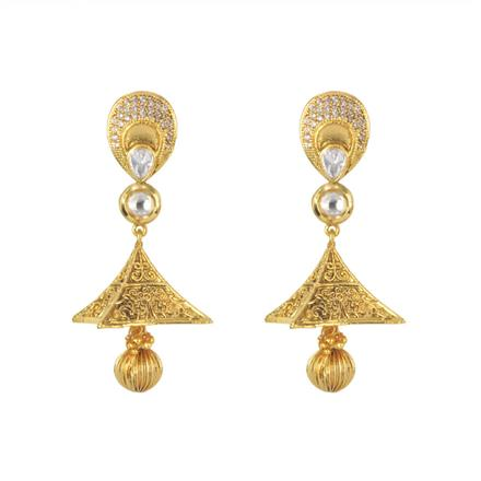 11453 Antique Jhumki with gold plating