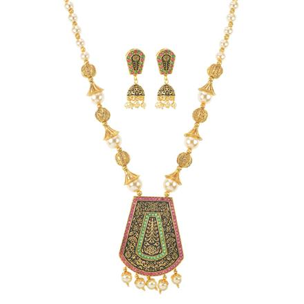 11484 Antique Mala Pendant Set with gold plating