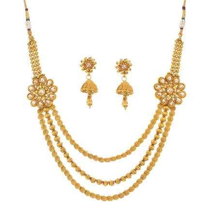 11503 Antique Side Pendant Necklace with gold plating