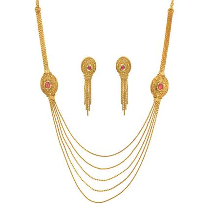 11511 Antique Side Pendant Necklace with gold plating