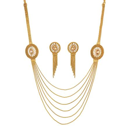 11512 Antique Side Pendant Necklace with gold plating