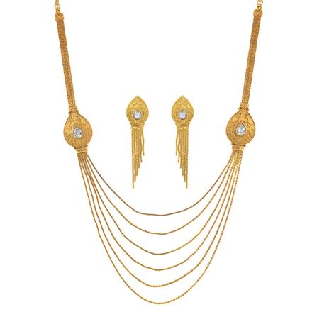11513 Antique Side Pendant Necklace with gold plating