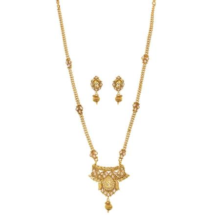 11521 Antique Long Necklace with gold plating