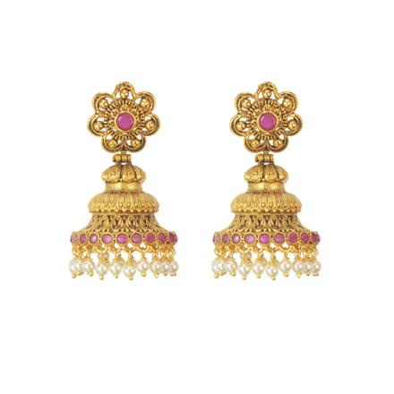 11523 Antique Jhumki with gold plating