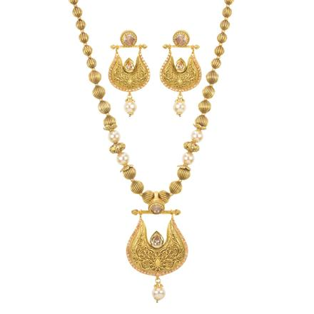 11528 Antique Mala Pendant Set with gold plating