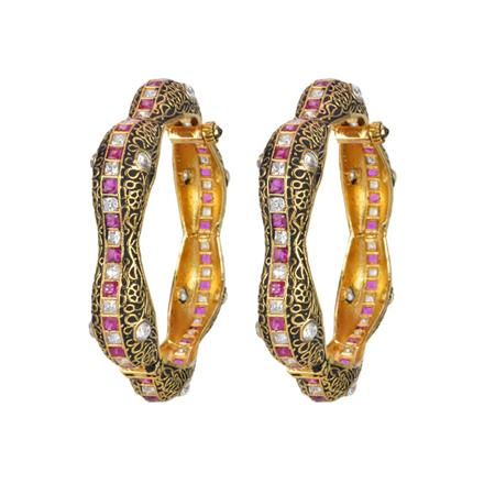 11535 Antique Openable Bangles with gold plating