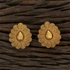 11553 Antique Plain Earring With Gold Plating