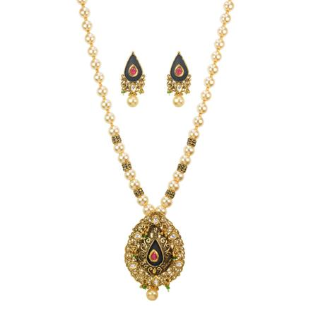 11589 Antique Mala Pendant Set with gold plating