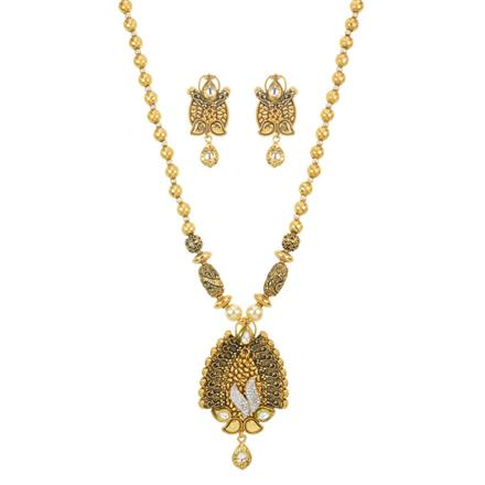 11591 Antique Mala Pendant Set with gold plating