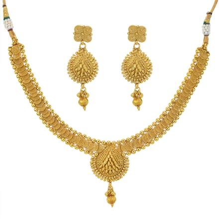 11597 Antique Plain Gold Necklace