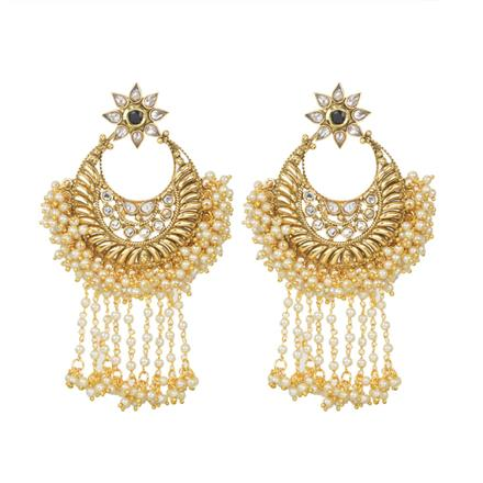 11602 Antique Chand Earring with gold plating