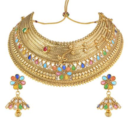 11603 Antique Mukut Necklace with gold plating