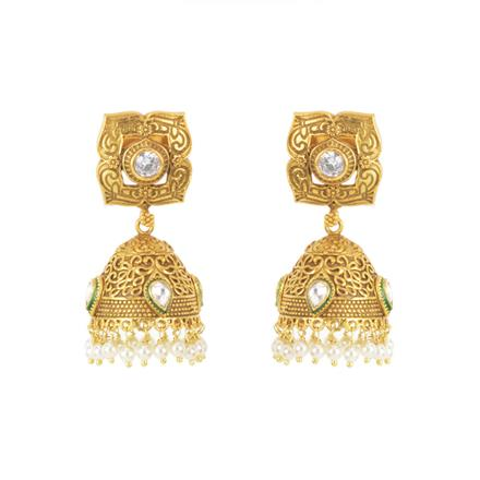 11608 Antique Jhumki with gold plating