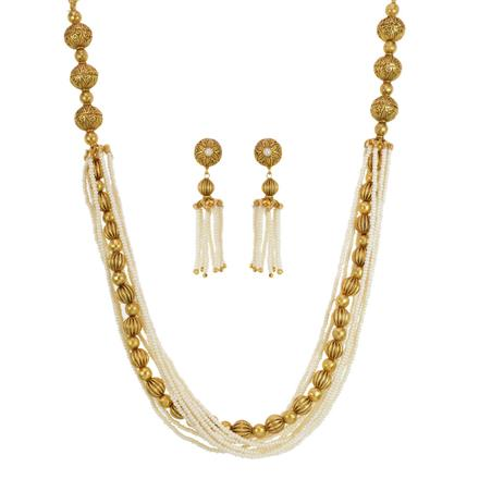 11609 Antique Mala Necklace with gold plating