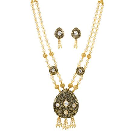 11702 Antique Mala Pendant Set with gold plating