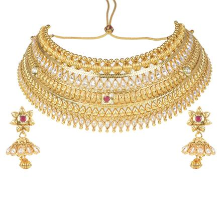 11705 Antique Mukut Necklace with gold plating