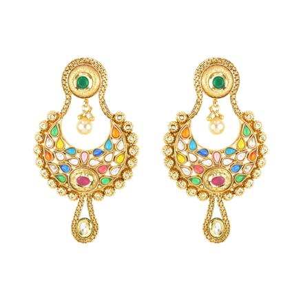 11707 Antique Chand Earring with gold plating