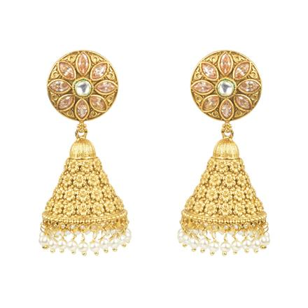 11712 Antique Jhumki with gold plating