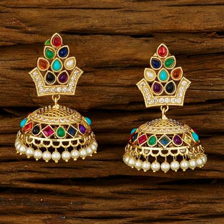 11740 Antique Jhumki with gold plating