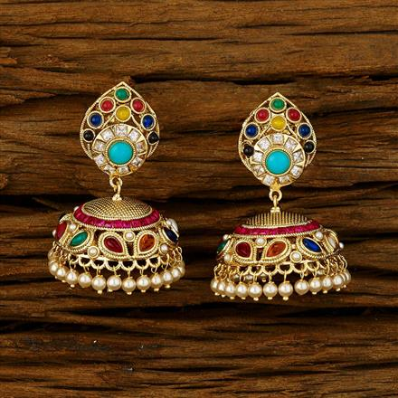11743 Antique Jhumki with gold plating