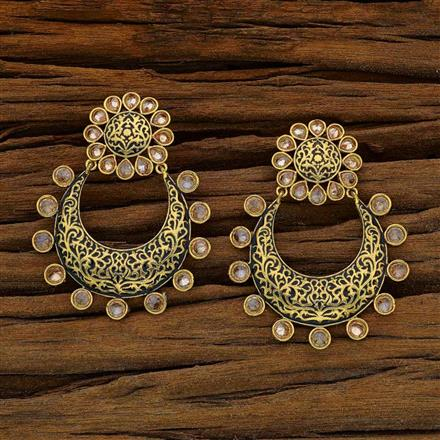 11746 Antique Chand Earring with gold plating
