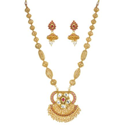 11763 Antique Mala Pendant Set with gold plating