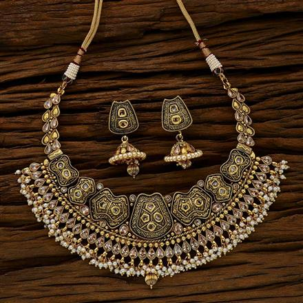 11770 Antique Gold plated Padmavati Classic Necklace