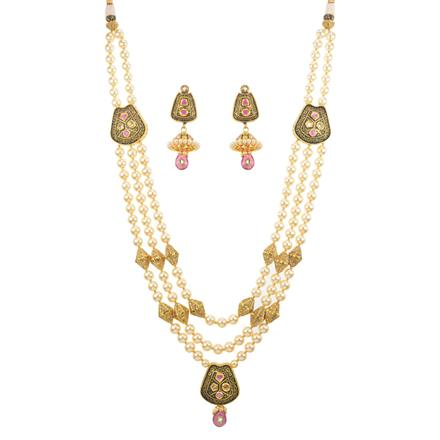 11772 Antique Side Pendant Necklace with gold plating