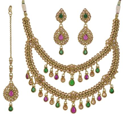 11787 Antique Classic Necklace with mehndi plating