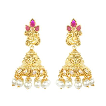 11795 Antique Jhumki with gold plating