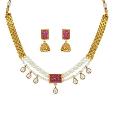 11803 Antique Choker Necklace with gold plating